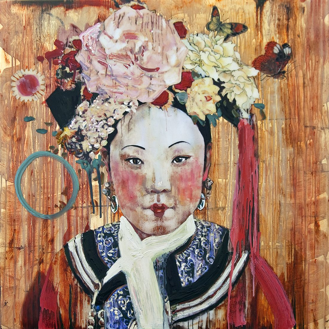Hung Liu Cherry Lips Rhapsody Iv 2012 Mixed Media On Panel 41 X 41 Hung Liu Social Art Chinese Art Hung Liu