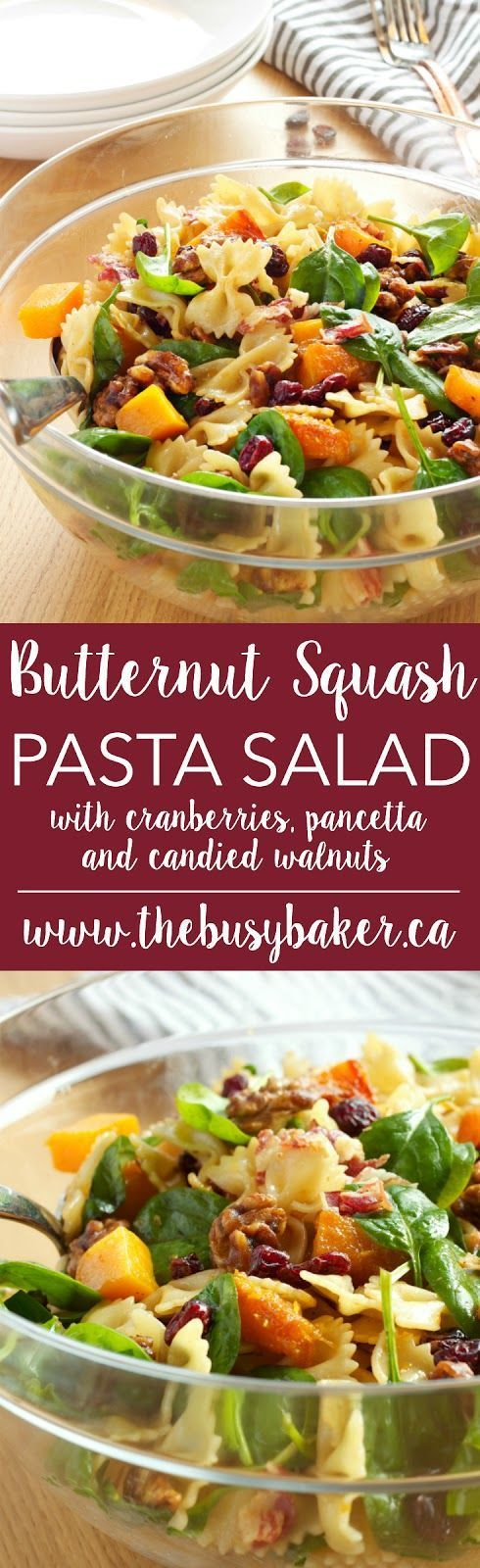 Butternut Squash Pasta Salad with Cranberries, Pancetta and Candied Walnuts http://www.thebusybaker.ca