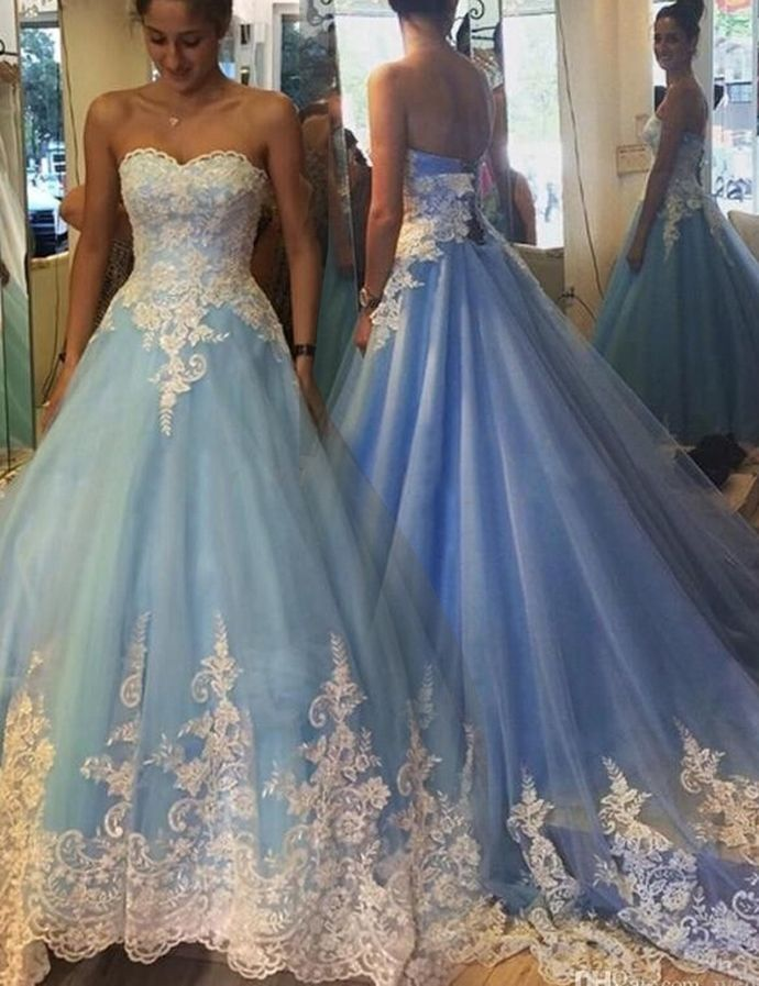 Elegant Princess ball Gown Sweetheart Sleeveless Lace-Up Appliques ...
