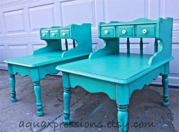 table shabby chic placemats bayside blue vintage side table set nightstand end table