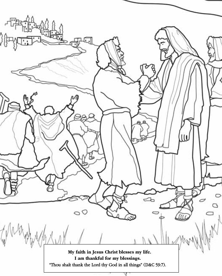 jesus heals the 10 lepers coloring pages | lds-games.com Has LOTS of printables to help keep the ...