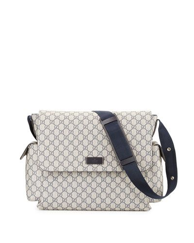 8d5a97aa563c63 Gucci Guccissima Faux-Leather Diaper Bag w/ Changing Pad, Beige/Blue ...