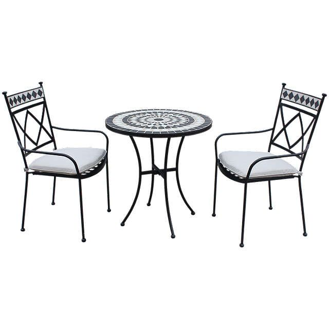 ec0a2adbb3d9 BuyLG Outdoor Casablanca 2 Seater Garden Bistro Table and Chairs Set,  Charcoal Online at johnlewis.com