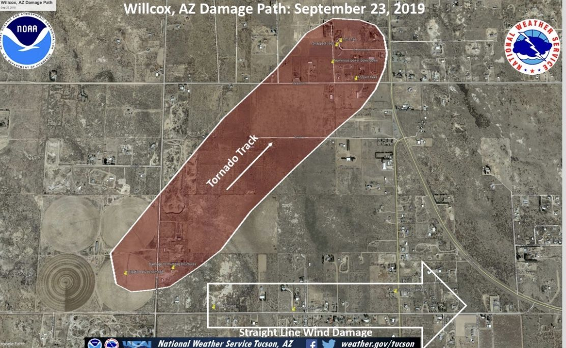 Damage path for the EF1 tornado that hit Willcox, Arizona
