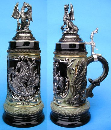 St. George Dragon Slayer Beer Stein with Dragon Lid in ...