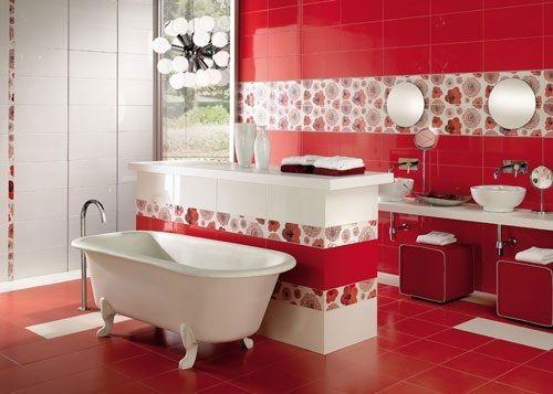 12 Fotos De Baños En Colores Vivos Decoración Cuarto De Baño Rojo Estilo De Baño Baños De Colores