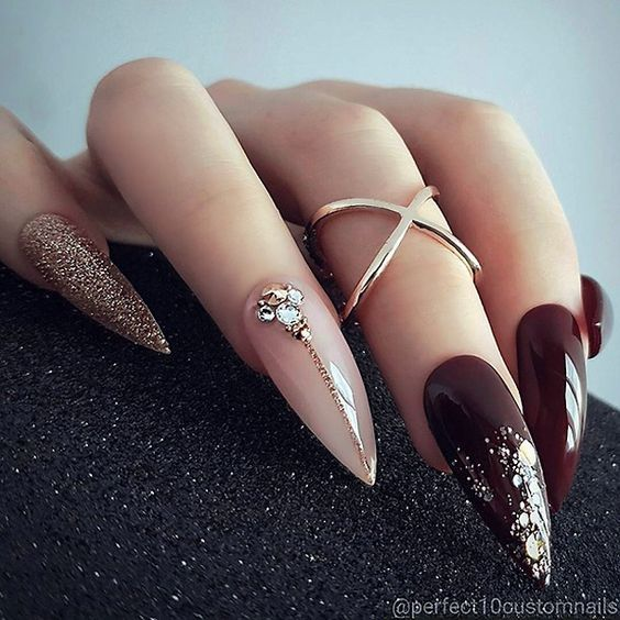 """TheGlitterNail � Get inspired! on Instagram: """" REPOST - - • - - Deep Burgundy, Pale Pink, Rose-Gold Glitter and Crystals on Stiletto Nails. � - - • - - � Picture and Nail Design by…"""""""