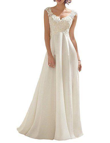 AbaoWedding Women\'s Double V-neck Sleeveless Lace Wedding Dress ...