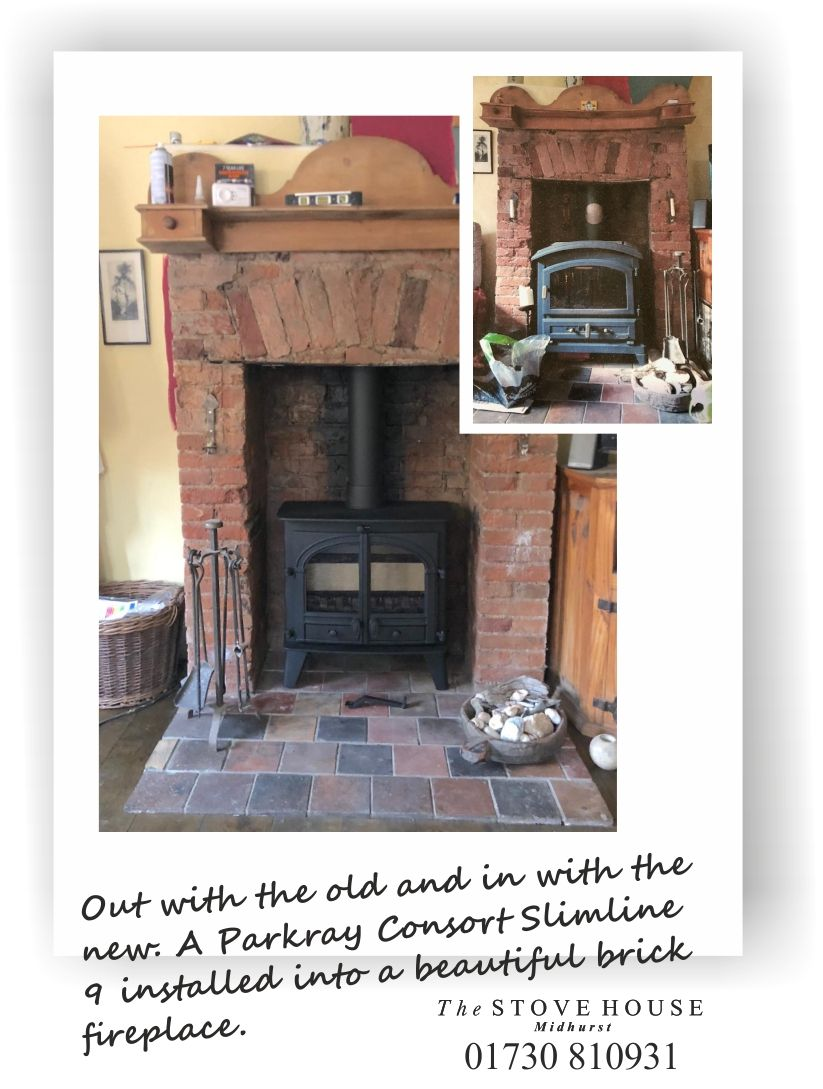 Parkray Consort 9 Slimline 2 Door Multifuel Stove Before After Shots Stove Installation Wood Burning Stove Inset Stoves