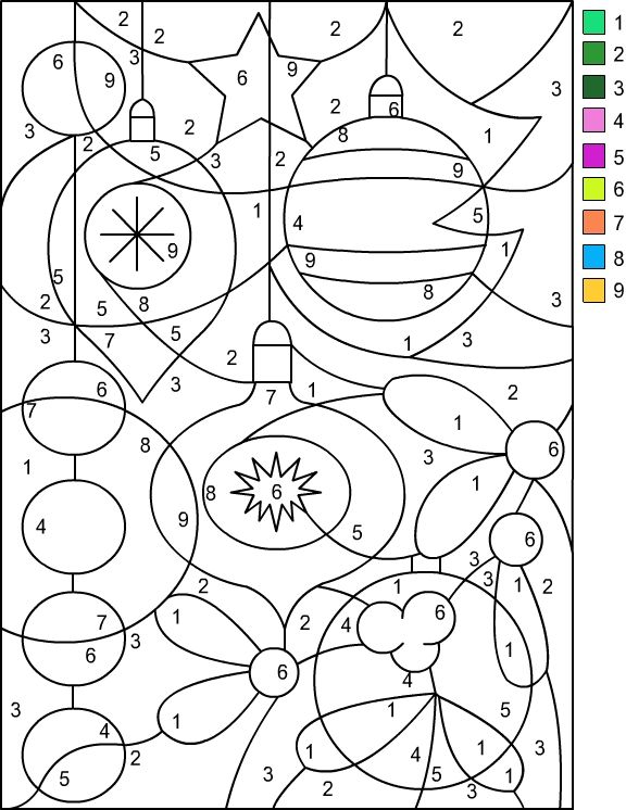 nicoles free coloring pages christmas color by number - Christmas Coloring Pages Number