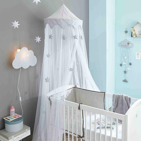 Ciel de lit enfant blanc et gris | projet enfant club famille