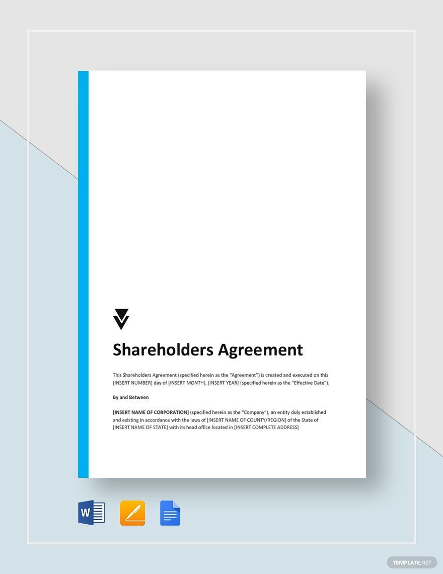 Shareholders Agreement Templates Outline Words