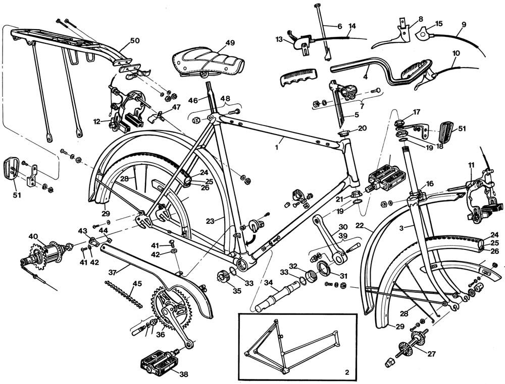 Raleigh Sprite Dl85 Bicycle Exploded Drawing From 1977 Raleigh