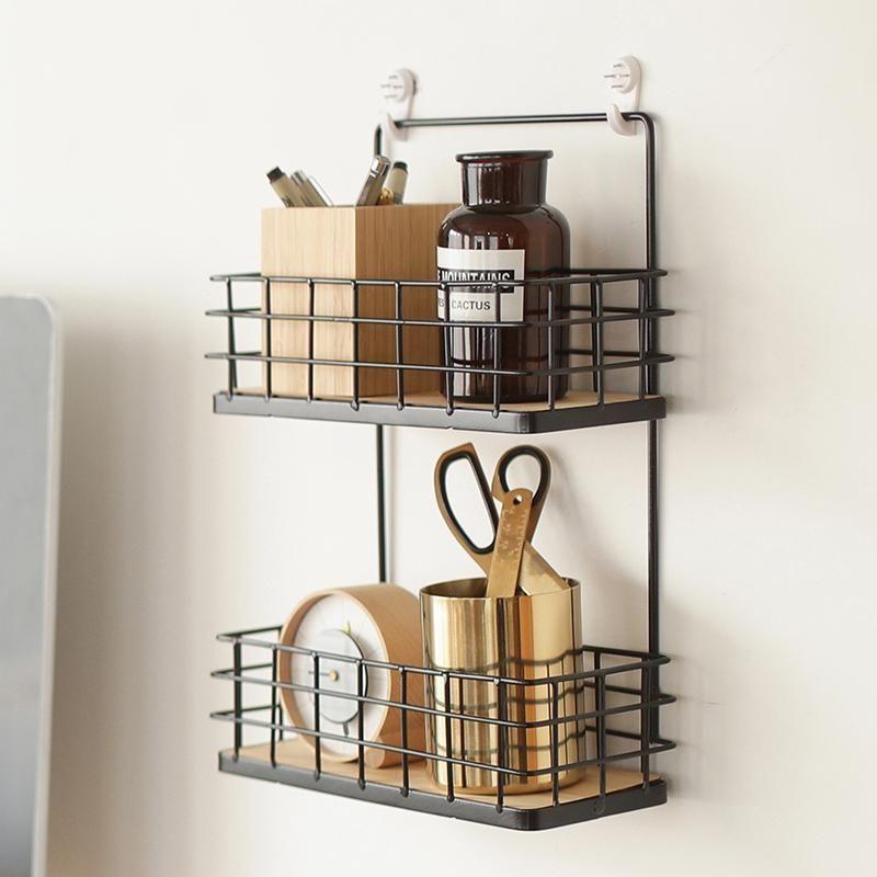 Bathroom Shelf Suction Cup Rack Wall Storage Organizer Kitchen Display Shelves R