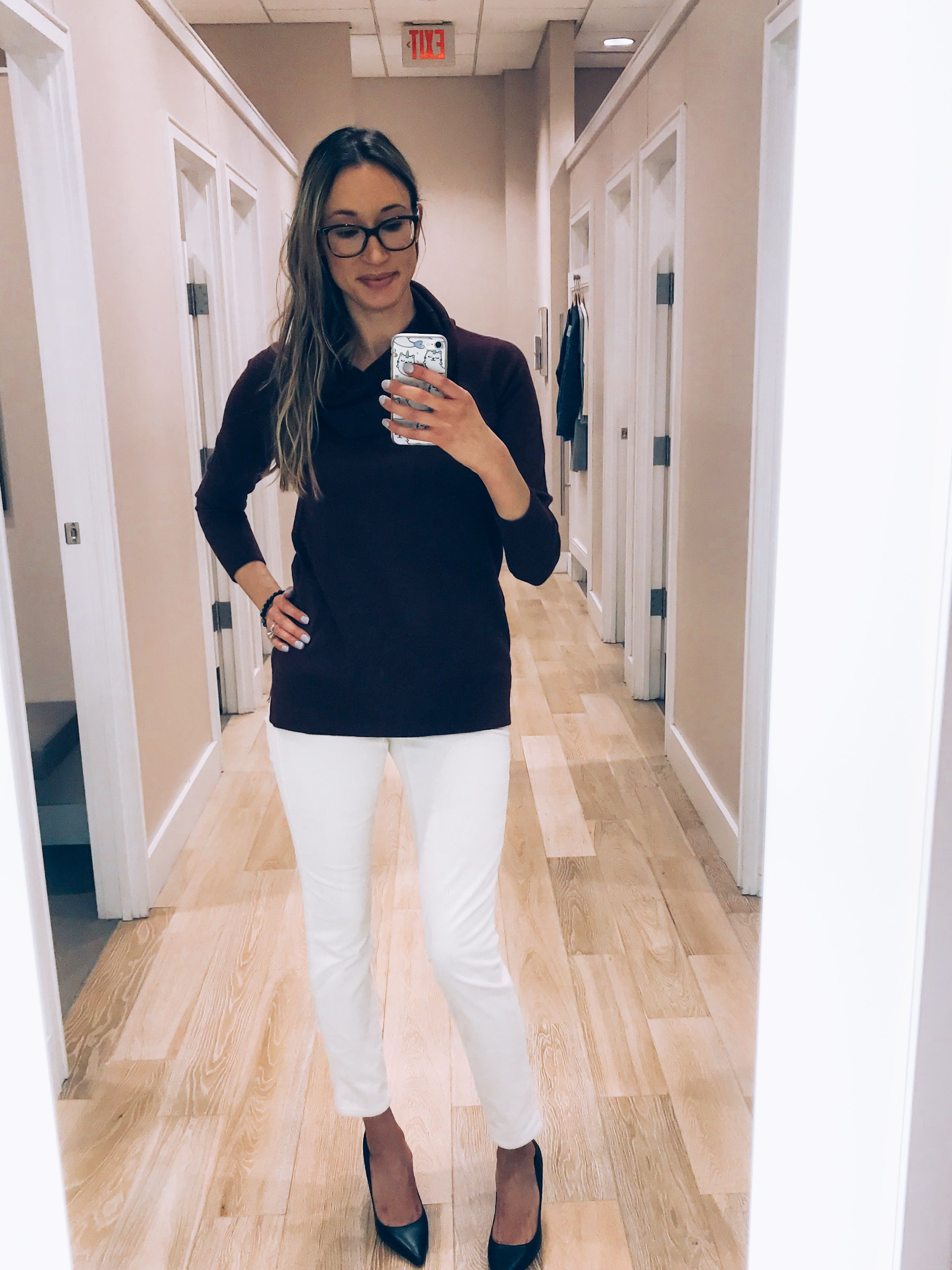 8182464187 loft haul and try-on winter 2018- cowl neck sweater with white corduroys