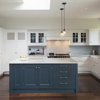 Blue Kitchen White Cabinets white kitchen with blue island, transitional, kitchen | ideas for