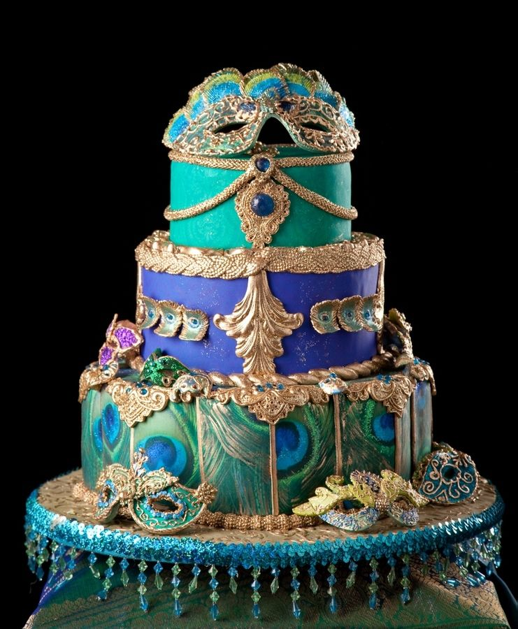 Masquerade themed cake. Masks are made of gumpaste and then piped ...
