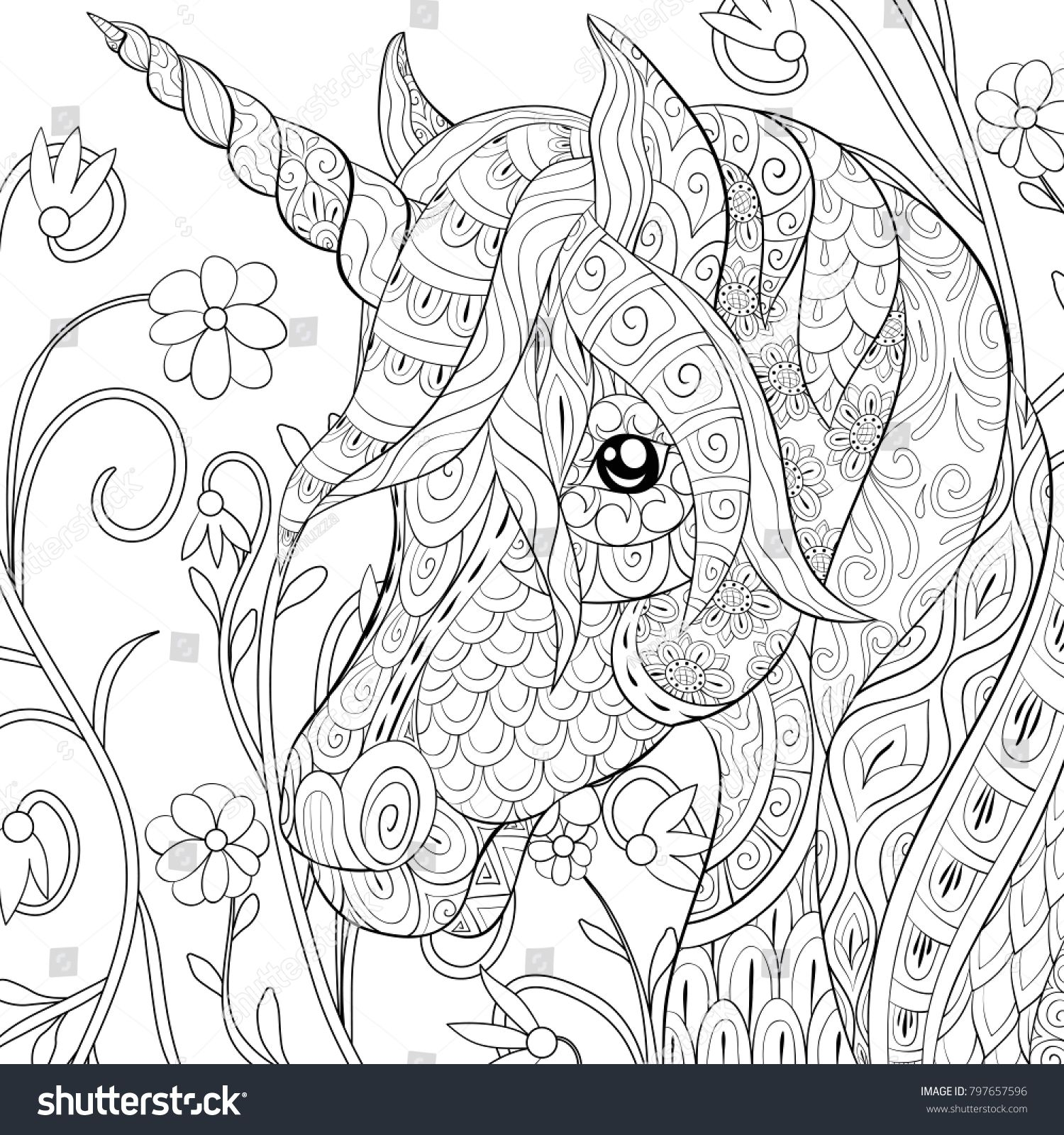 Adult Coloring Page Book A Cute Unicorn On The Floral