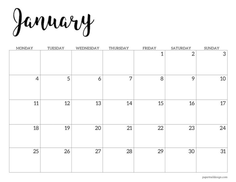 Free Printable 2021 Calendar Monday Start Paper Trail Design In 2020 Monthly Calendar Printable Calendar Printables Print Calendar