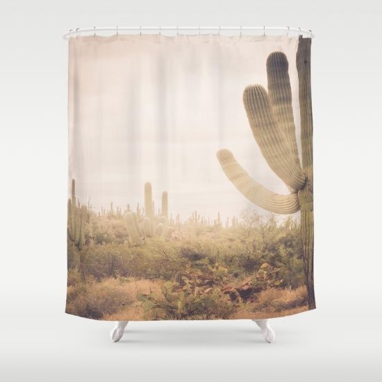 Saguaro Sunrise Shower Curtain Cactus Shower Curtain Rustic