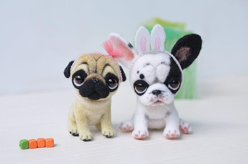 Pug Puppy Pet For Doll Little Felt Dog Funny Toy Cute Needle