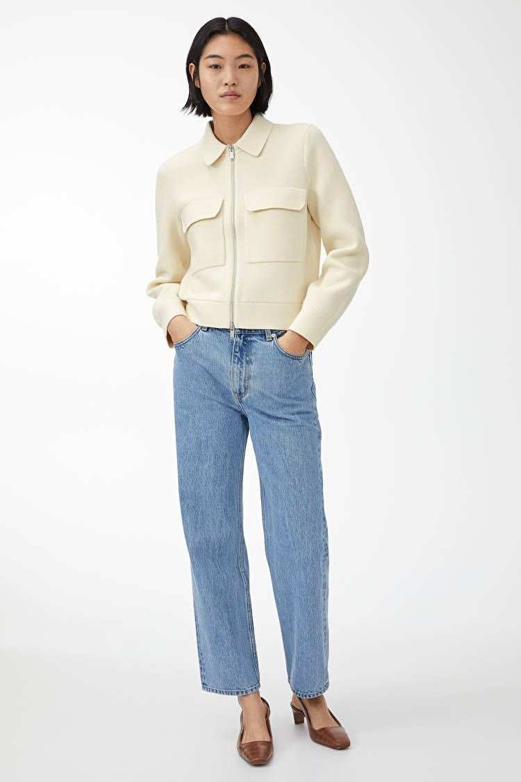 Merino Boxy Jacket Off White Knitwear Arket No In 2020 White Knitwear Knit Structure Arket