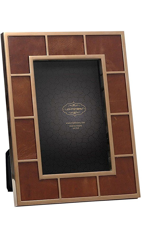 LIGHTSTORY Brown Leather Bronze Picture Frame for 5x7 Pictures, Table Photo Frame with Stand Best Price