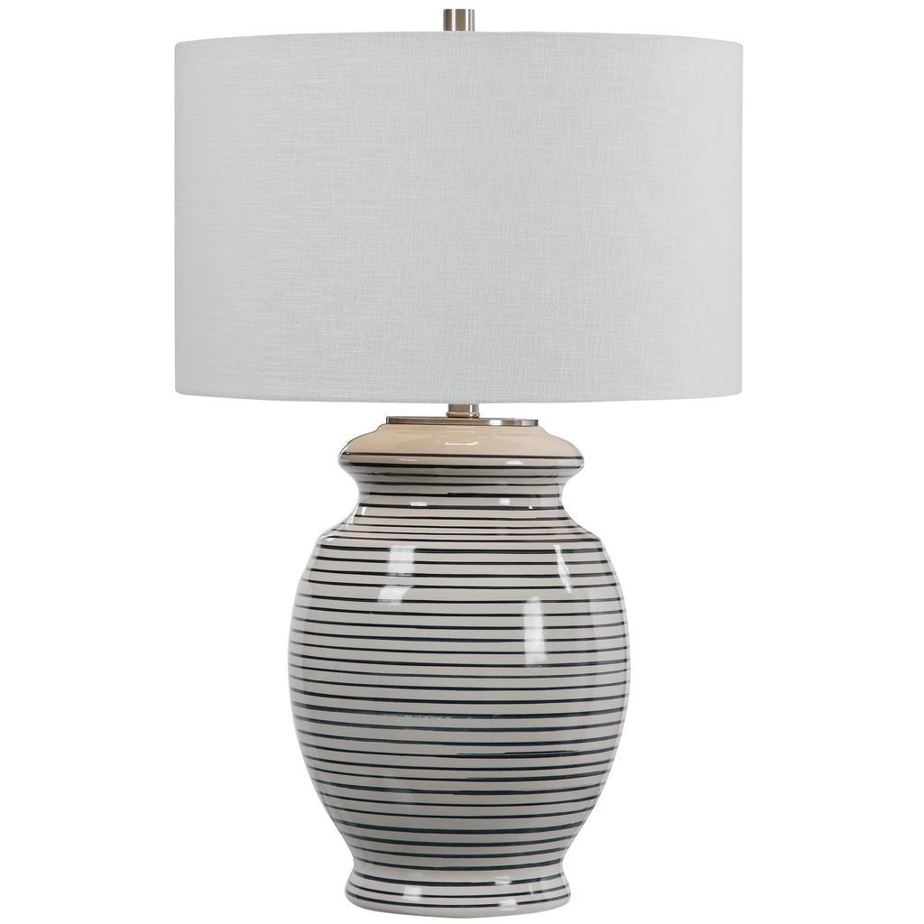 Sea Striped Navy And White Table Lamp In 2020 White Table Lamp Ceramic Table Lamps Table Lamp