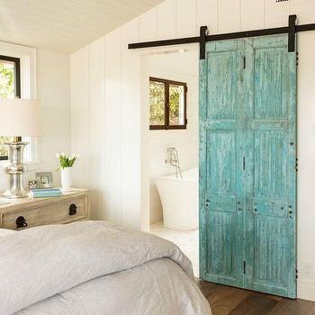 Turquoise Barn Door on Rails to Bathroom, Cottage, Bedroom   Barn ...