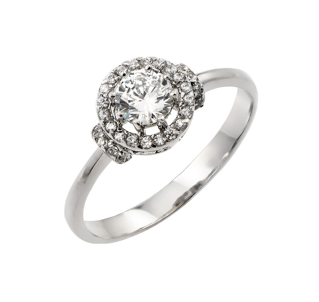 .925 Sterling Silver Rhodium Plated Cluster Ring