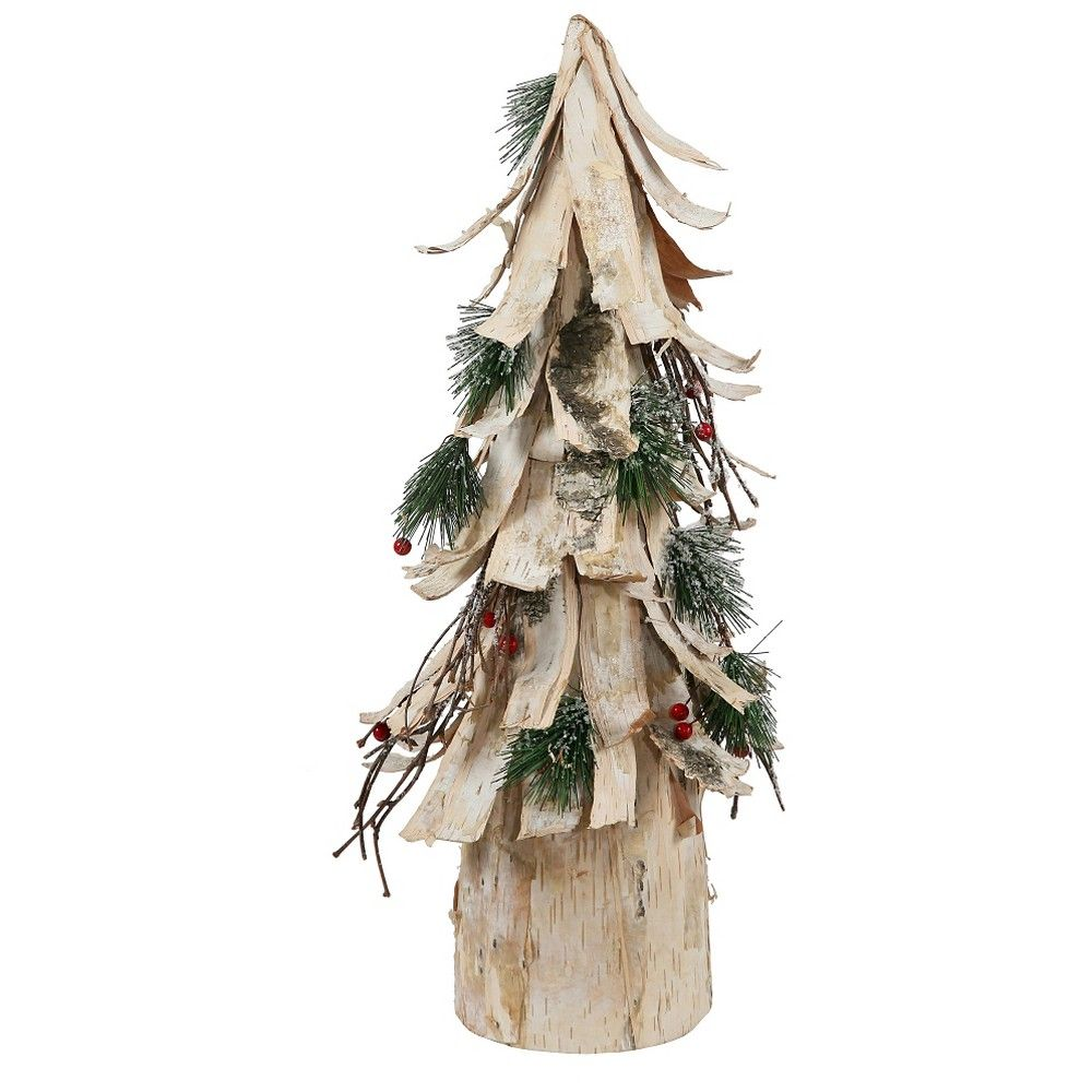 20 Unlit Artificial Christmas Tree Bark Cone Brown, Off White   Tree ...