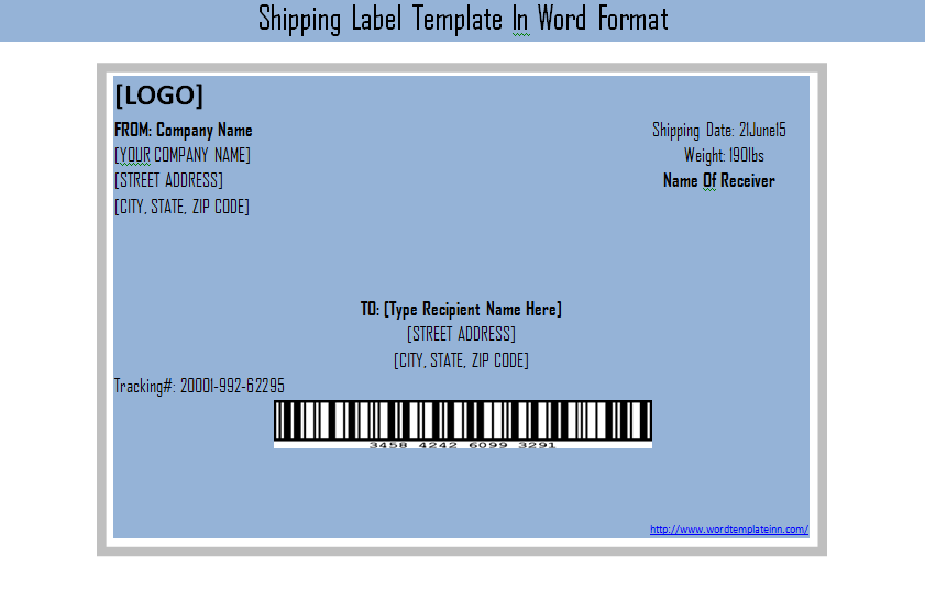 Get Shipping Label Template In Word Format – Microsoft Word Shipping Label Template