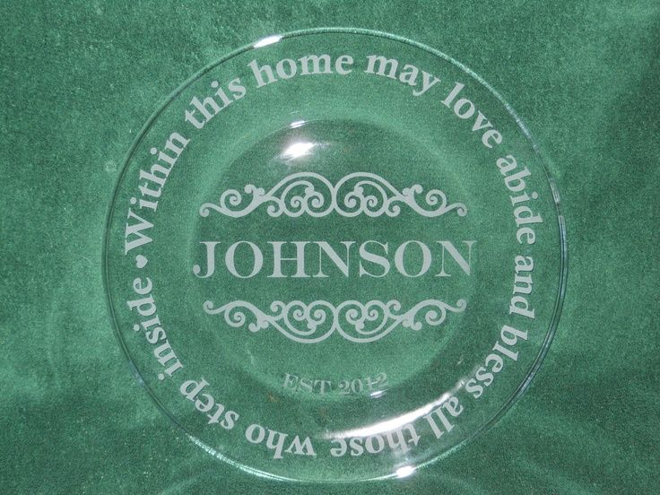 Etched Glass Pie Plate Glass Etched Name Plate Custom Etched