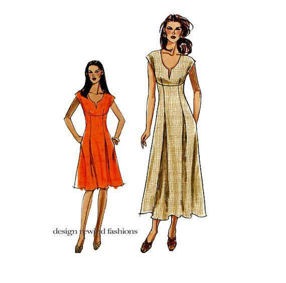 VOGUE DRESS PATTERN Empire Waist Dress Pattern with V-Neck Very Easy ...