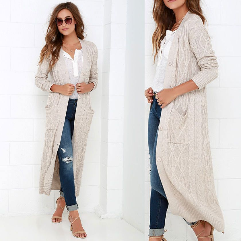 LOVE STITCH At Great Length Grey cable Knit Long Maxi Duster/Coat ...