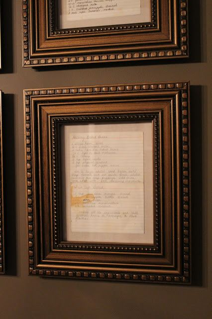 SUBURBAN Spunk*: Frame old recipe cards to add history and character to a dining room