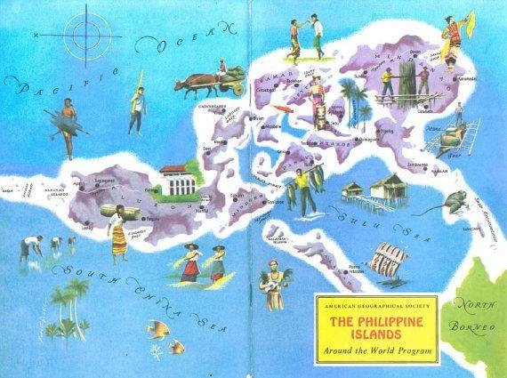 Philippines map vintage map art world travel decor colorful philippines map vintage map art world travel decor colorful map gumiabroncs Images