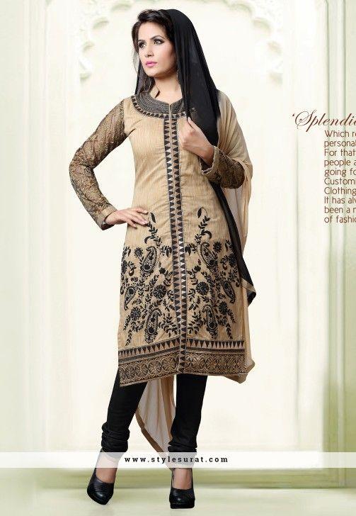 Beige And Black Achkan Style Readymade Salwar Suit