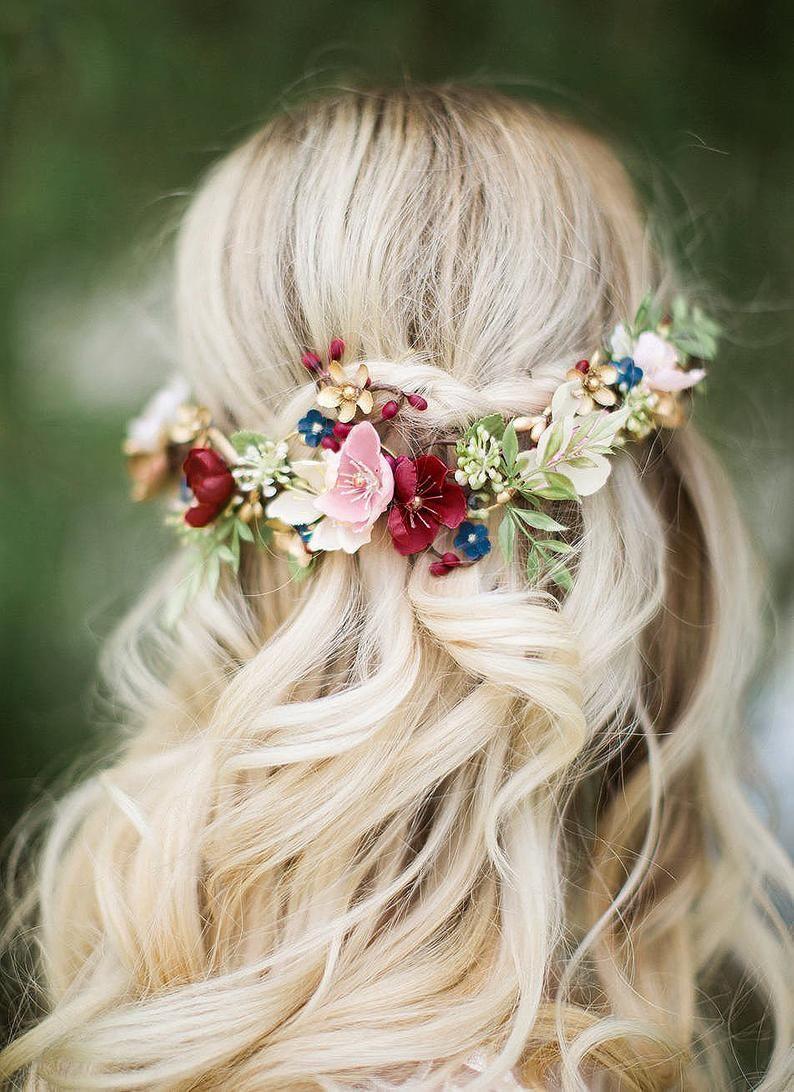 Burgundy hair accessories bridal headpiece floral burgundy | Etsy
