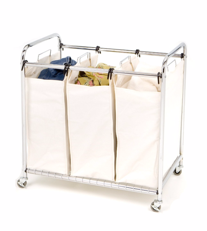 Wheeled Laundry Rolling Cart Carrier 3 Bagging Storage Protection