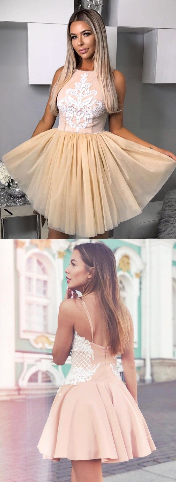 Champagne round neck lace applique short prom dress homecoming