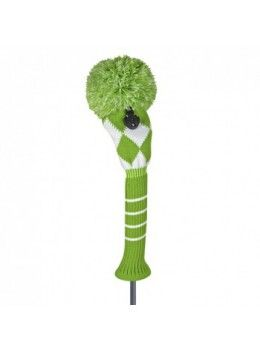 JUST FOR GOLF KNIT HEADCOVERS-Lime Green White Diamond Fairway Wood Headcover