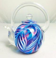 Murano Design Hand Glass Rainbow Pattern Teapot Art Sculpture ...