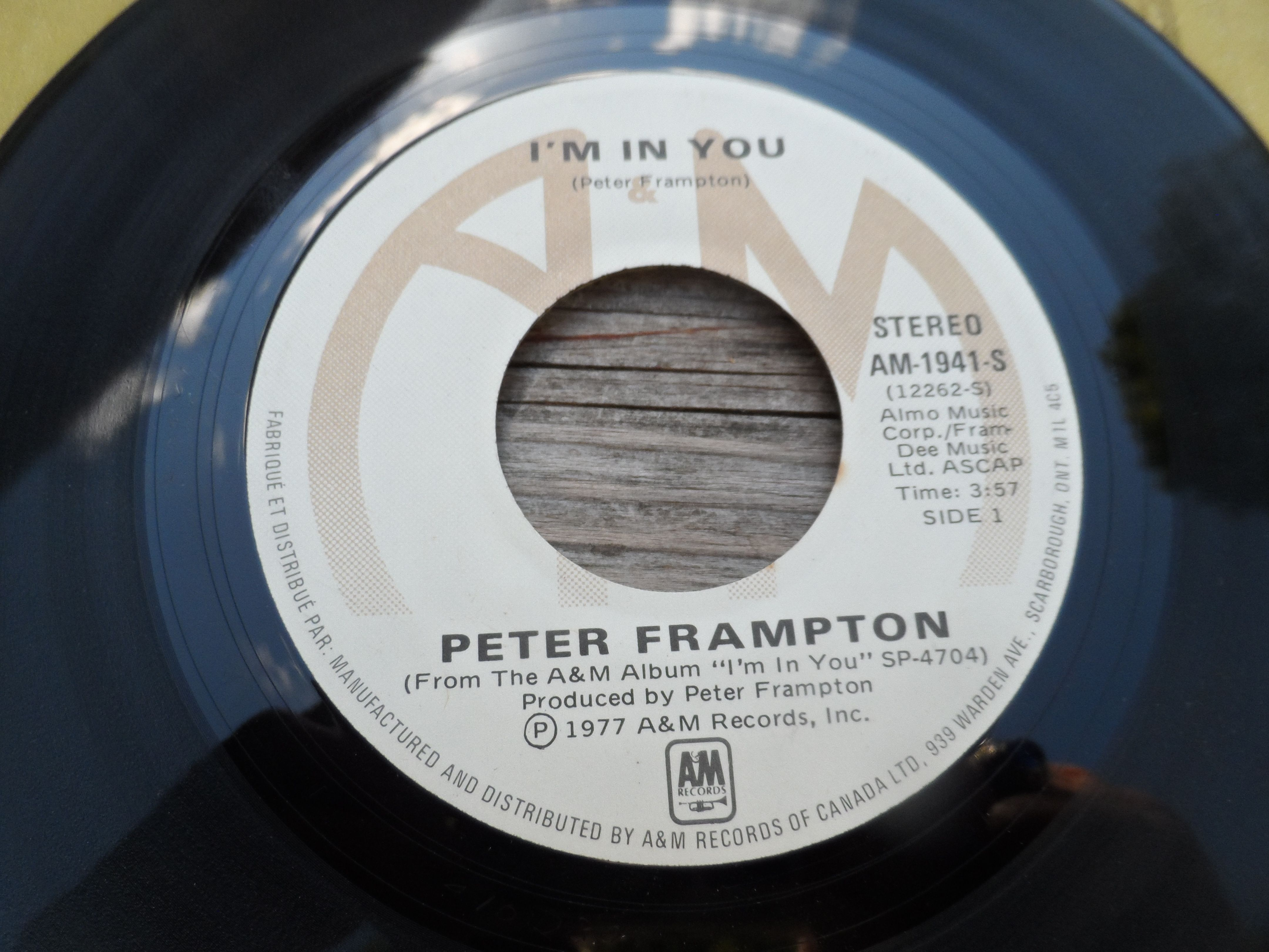 Peter Frampton I M In You Label A M Records Inc 1941 S Format Vinyl 7 45 Rpm Single Country Canada Records Peter Frampton Music Record