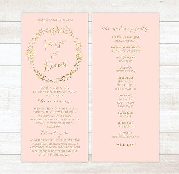 Pink Gold Wedding Program Blush By Pinkdahliaprintable