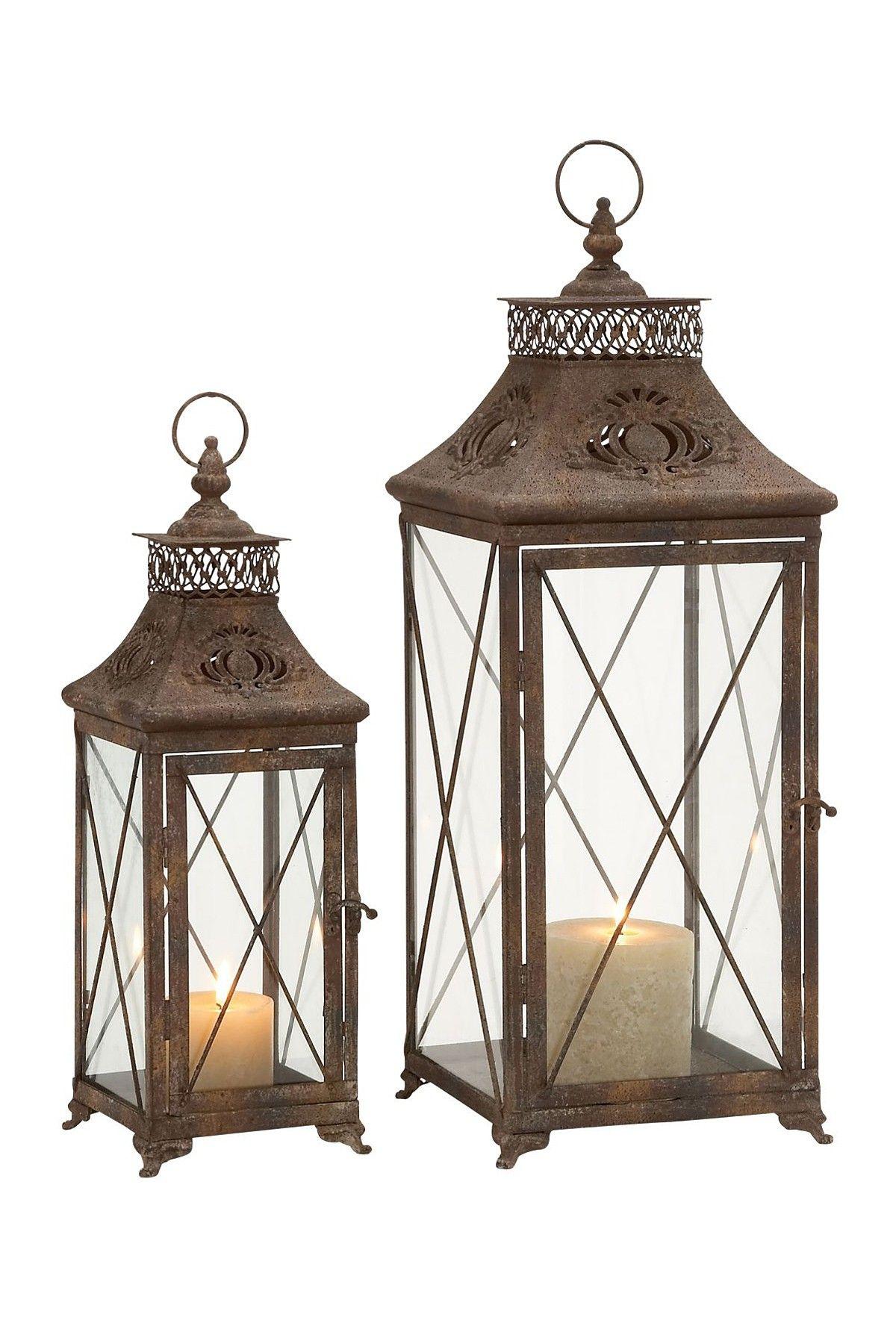 Metal Glass Lanterns//