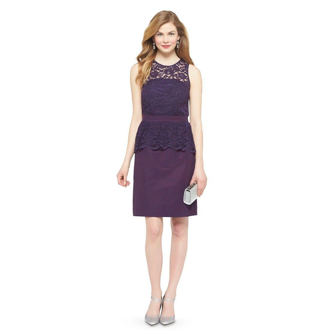 Women\'s Scalloped Lace Sleeveless Bridesmaid Dress w/Peplum ...