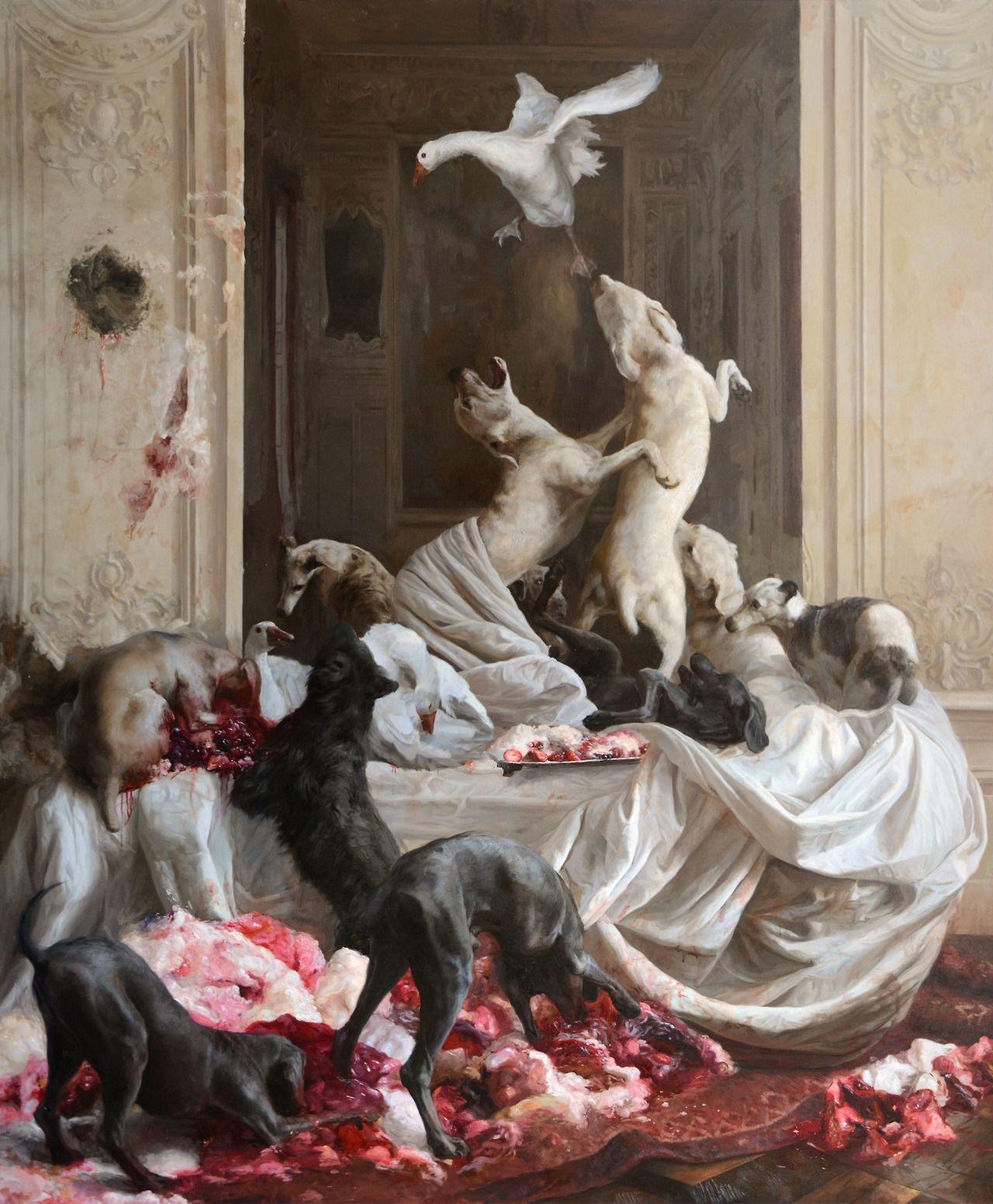 Guillermo Andrés Lorca García Huidobro - El Banquete. Oil on canvas