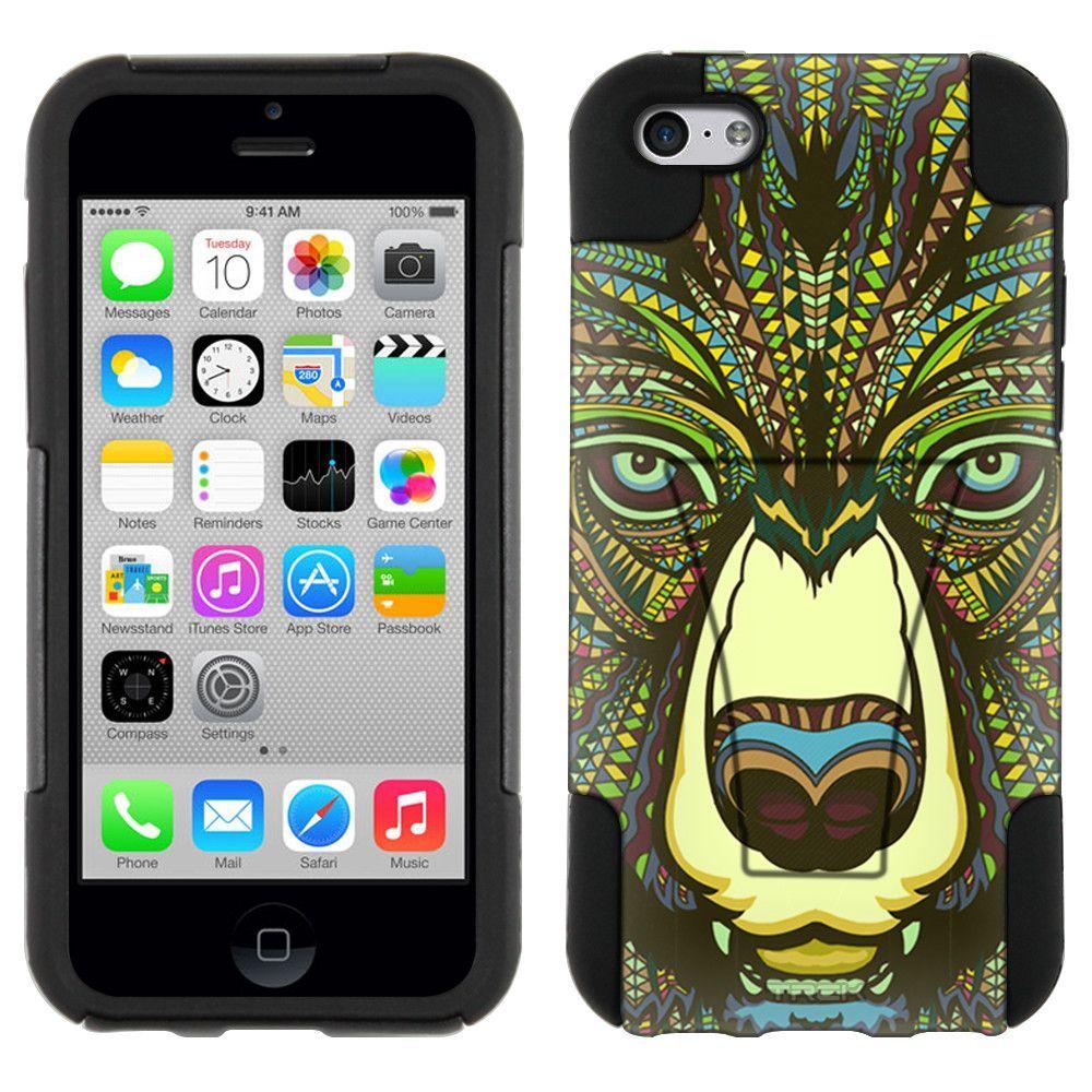 Apple iPhone 5C Aztec Bear Head Green Hybrid Case