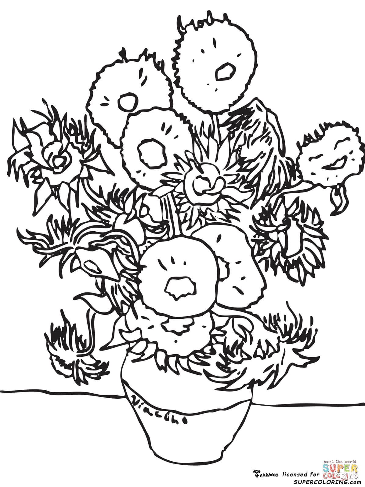 Sunflowers By Vincent Van Gogh Coloring Page From Vincent